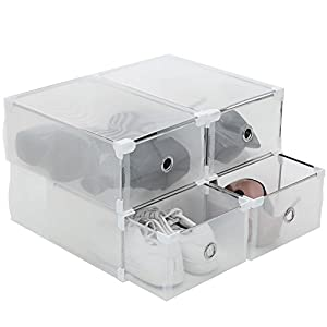 C&AHOME Foldable Clear Drawer Type Shoe Boxes Transperant Plastic Shoe Storage Container Pack Of 4