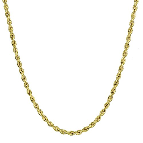 14K Yellow Gold 1.8mm Hollow Twist Rope Chain Necklace for Men and Women, 16 Inches by Hoops & Loops