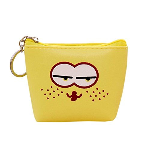 Iusun Wallet Purse, Funny Expressions Coins Purse Bag Children's Cartoon Leather Zero Wallet Key Buckle Purse (Yellow)