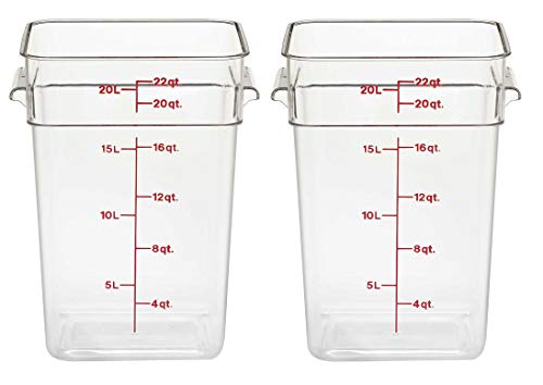 Cambro 22SFSCW135 CamSquare Food Storage Containers, Set of 2 (22-Quart, Polycarbonate, NSF)
