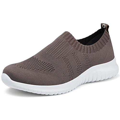 LANCROP Women's Lightweight Walking Shoes - Casual Breathable Mesh Slip on Sneakers 10 US, Label 42 Brown