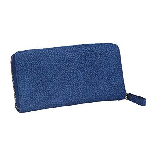 Women Bowknot Long Purse Button Wallet Clutch Hand Bag (Dark Blue) - 4