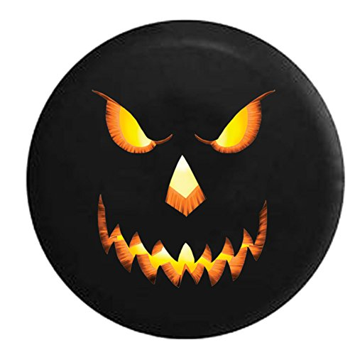 American Unlimited Spare Tire Cover Jack o Lantern - Evil Glowing Pumpkin Halloween fits Jeep or Camper RV Accessories 33 in]()