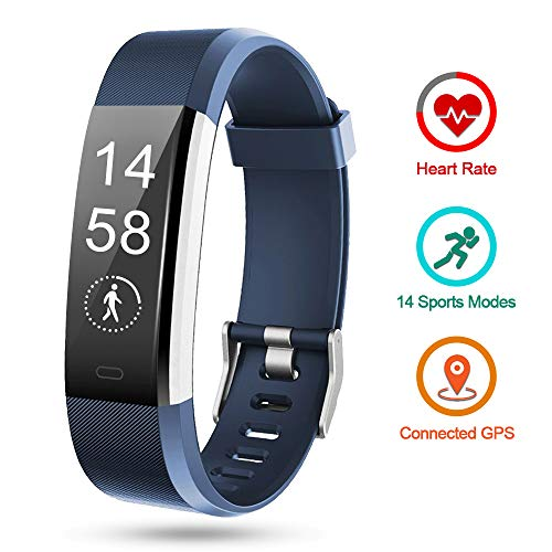 Lintelek Fitness Tracker HR, Large Band Activity Tracker, Calorie Counter, Pedometer Watch with 14 Sports Modes for Men, Women, Kids and Gifts