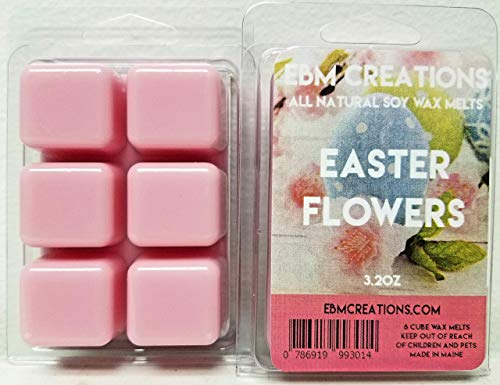 Creation Flower (Easter Flowers - Scented All Natural Soy Wax Melts - 6 Cube Clamshell 3.2oz Highly Scented!)