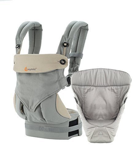 Ergobaby 4 Position 360, Grey Carrier with Easy Snug Infant Insert, Grey