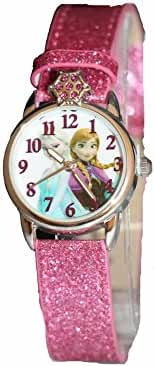 Disney Kids' Frozen Anna and Elsa Watch with Pink Glitter Band
