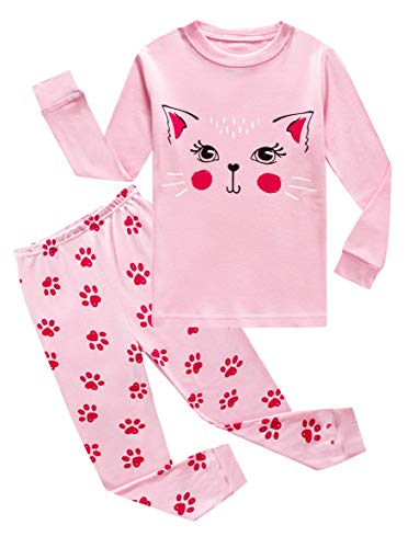 Cat Little Girls Long Sleeve Pajamas Sets 100% Cotton Sleepwears Kids Pjs Size 7