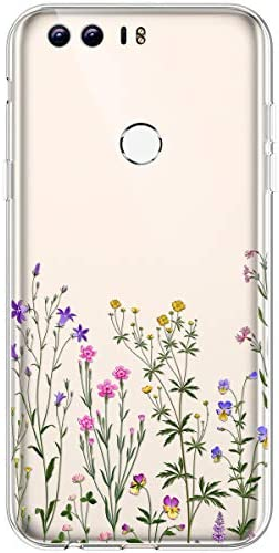 Urhause TPU hülle Kompatibel mit Huawei Honor 8,Ultra Slim Silikon Hülle Gemalt Blumenmuster Flexible TPU Handyhülle Transparent TPU Silikon Schutzhülle Fallschutz Kratzfest hülle,#19