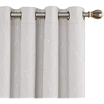 Deconovo Blackout Curtains Wave Line with Dots Foil Print Design Grommet Top Window Curtains for Bedroom 52 x 72 Inch Cream 2 Panels