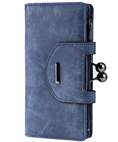 Women's Leather Organizer Wallets Clutch Purse with Checkbook and Cards Holder - 2 Styles ()