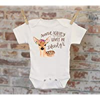 Auntie Loves Me Deerly Personalized Onesie®, Auntie Gift, Customized Onesie, Woodland Animals Onesie, Boho Baby Onesie, Funny Onesie