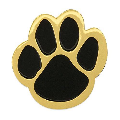 PinMart Black and Gold Animal Paw Print School Mascot Enamel Lapel Pin ()
