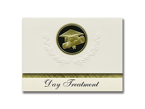 Signature Announcements Day Treatment (Independence, MO) Graduation Announcements, Presidential style, Basic package of 25 Cap & Diploma Seal. Black & Gold. by Signature Announcements