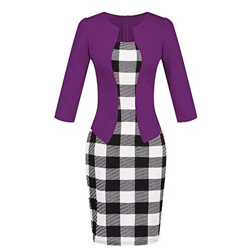 ✔ Hypothesis_X ☎ Women Colorblock Plaid Wear to Work Business Party Bodycon One-Piece Dress Purple