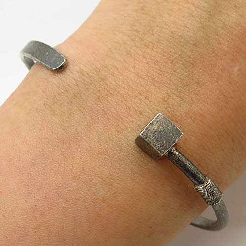 VTG Trinidad 925 Sterling Silver Modernist Cuff Bracelet 7.5