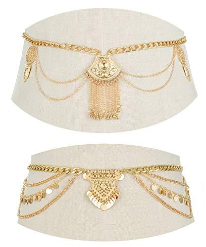 Tornito 2 PCS Waist Belt Chain Vintage Dangle Dancing Tassel Body Chain Bikini Beach Body Jewelry for Women Girl Silver Gold Tone