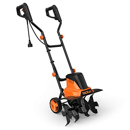 TACKLIFE Classical Version Electric Tiller, Cultivator, 12A Electric Power, 6 Tiller Tines, Tilling Width 16 Inch, Tilling Depth 8 Inch, Lightweight, Low Noise-TGTL02A