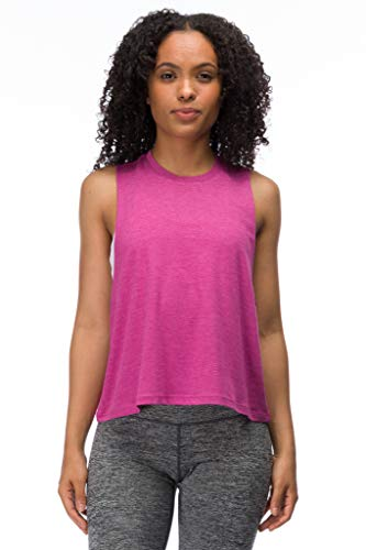Woman's Wide ARM Cut Off Crop Tank (Rose Violet, Small)