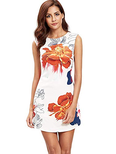 Floerns Women's Sleeveless Floral Work Party Cocktail Bodycon Dress 4-Orange L