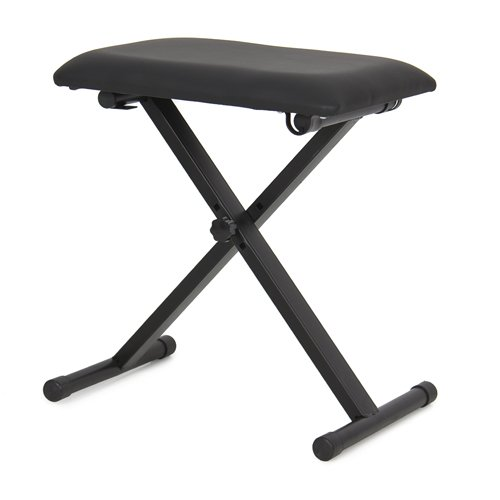 Piano Bench Adjustable Folding Bench Black Leather Piano