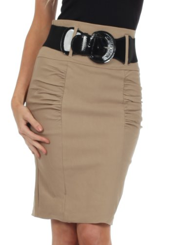 (Sakkas IMShirrKneeBelti-9645 Petite High Waist Shirred Stretch Pencil Skirt with Wide Belt -)