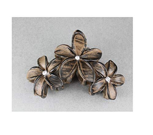 Brown Black plumeria hair clip hawaiian flower barrette alligator claw clamp jaw R-157