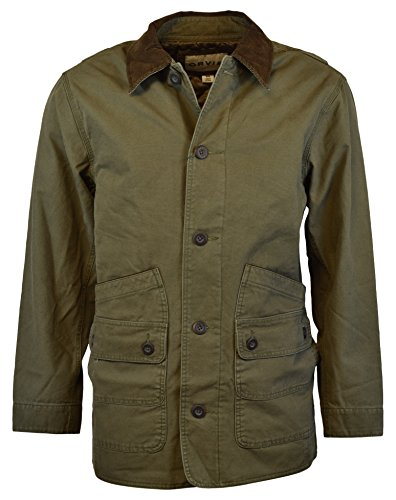 (Orvis Men's Corduroy Collar Cotton Barn Jacket (Large, Sage))