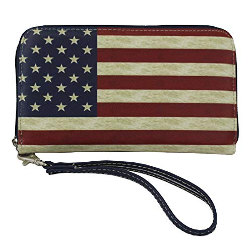 USA Flag Faux Leather Zip...