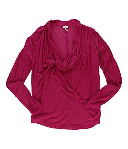 Splendid Womens Drapey Metallic Pullover Blouse raspberry M