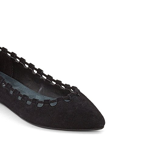 La Redoute Collections Womens Leather Ballet Pumps With Openwork Edging Black kLNB0