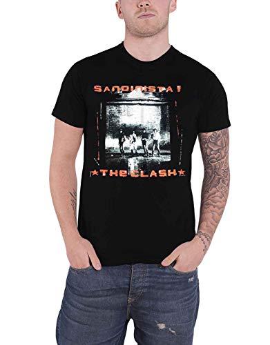 The Clash T Shirt Sandinista Album Cover Band Logo Official Mens Black Size L