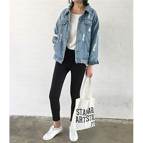 JUDYBRIDAL Oversize Denim Jacket for Women Ripped Jean Jacket Boyfriend Long Sleeve Coat