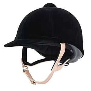 Charles Owen Wellington Classic Riding Helmet with Flesh Harness (Black, 7 1/8 (58 cm))