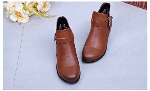 Abby 6827 Womens Ballroom Casual Rumba Closed Toe Flat Cozy Mid Top Boots Square Modern Dance Shoes Brown(wool Lining) Yyh2ZQu