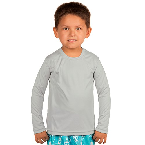 Vapor Apparel Toddler UPF 50+ UV Sun Protection Performance Long Sleeve Performance T-Shirt 3T Pearl Grey