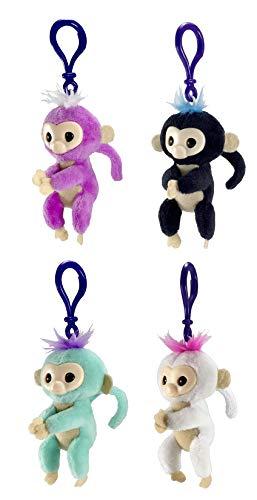 Blizy WowWee Fingerlings Plush Hugger Clip On - Monkey Key Chain Bundle, Teal, Purple, White, Black, Includes Keychain