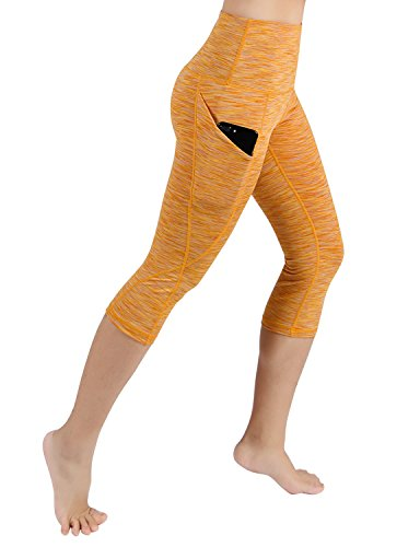 ODODOS High Waist Out Pocket Yoga Capris Pants Tummy Control Workout Running 4 Way Stretch Yoga Capris Leggings,SpaceDyeMustard,Small