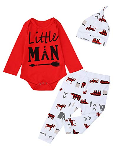 Christmas Outfit Set Baby Boy Little Man Romper with Socks (aRed, 3-6 Months)
