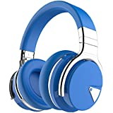 COWIN E7 Wireless Bluetooth Headphones with Mic Hi-Fi Deep Bass Wireless Headphones Over Ear, Comfortable Protein Earpads, 30 Hours Playtime for Travel Work TV Computer Phone -Blue