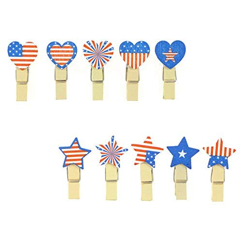 Fenical 100pcs Patriotic Photo Clip Pins American Flag Note Memo Card Postcard Holder Arts and Crafts ()