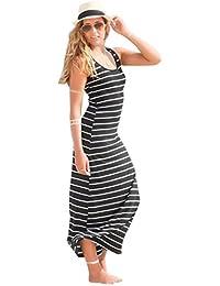 TM Women Sleeveless Striped Loose Long Beach Sundress...
