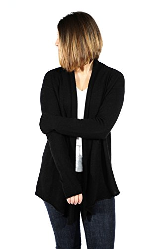 Pure Cashmere Crewneck Sweater - Gigi Reaume 100% Cashmere Womens Sweater, Open Front Cardigan, Shawl Collar Swing Style (Large, Black)