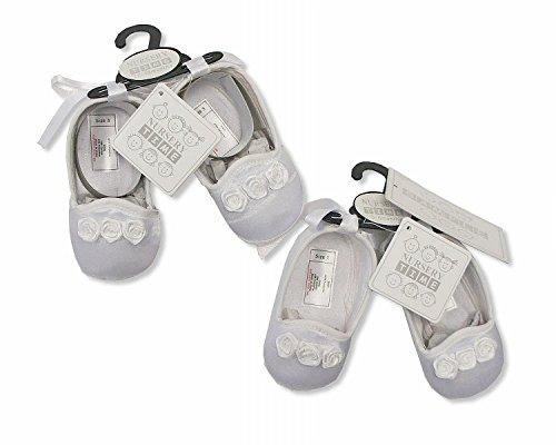 Bebé niña zapatos de bautizo ocasión de color blanco–12/18Meses
