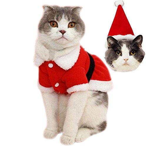 Bolbove Pet Christmas Santa Claus Dress Costume for Small Girl Dogs & Female Cats Winter Coat Warm Clothes (Red, (Female Cat Halloween Costumes)