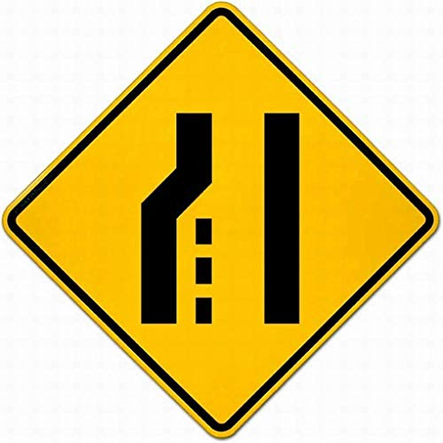 ZMZC Attention Sign Warning Sign Left Lane Ends Sign Notice Sign Caution Safety Sign Parking Sign Metal Tin Sign 8x12 ()