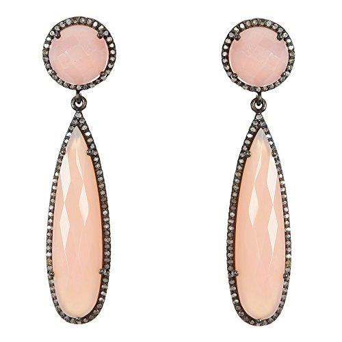 Pink Champagne Diamonds (Pink Chalcedony and Champagne Diamond Gillian Earrings)