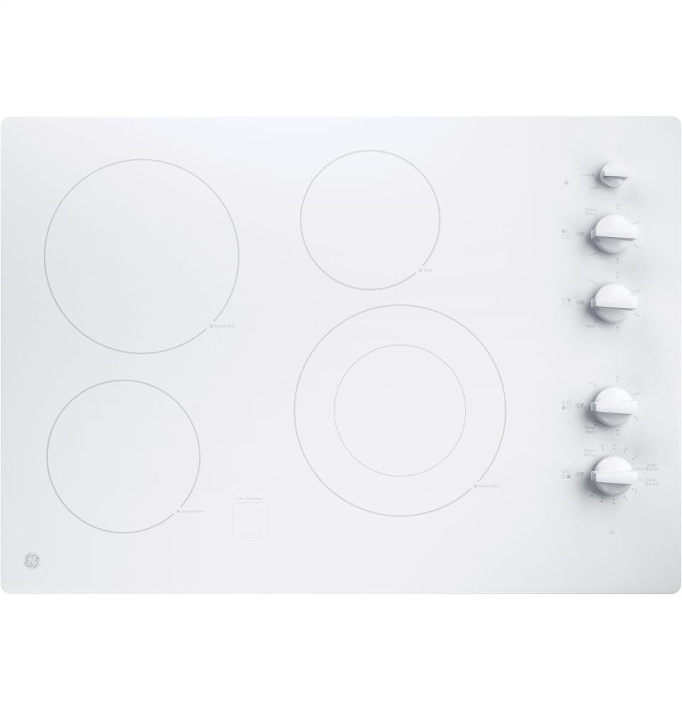 GE JP3530TJWW Profile 30-Inch Built-In Knob Control Electric Cooktop, White