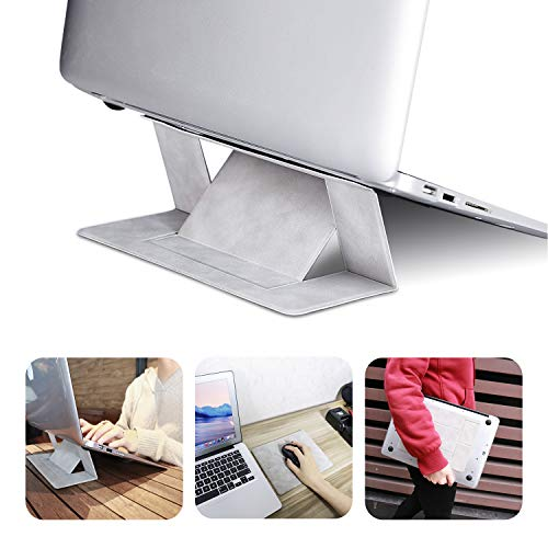 Invisible Laptop Stand Portable-RUCACIO Adhesive Laptop Stand Lightweight Kickstand Foldable Seamless Appendage of Computer Dual-Angle Adjustment Anti-Slide Fits Mac Book,Laptops,iPad, Tablet (Gray)