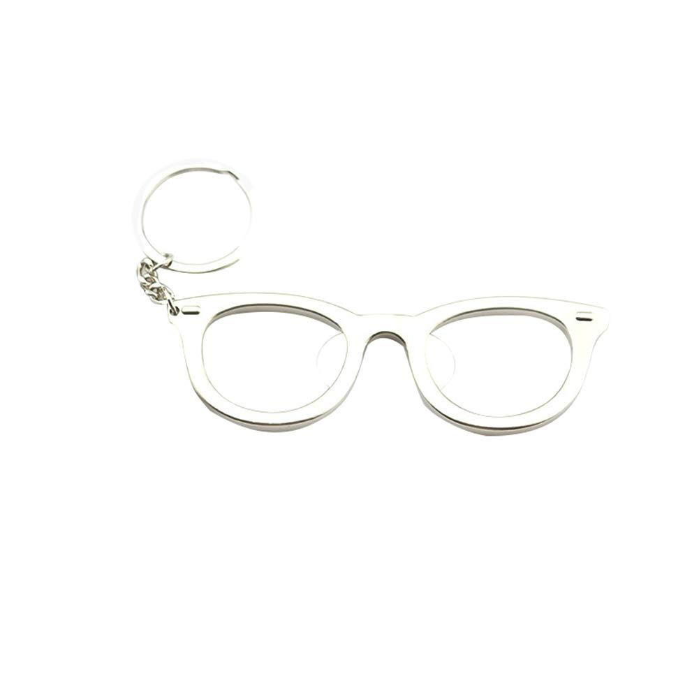 Outflower. 1pcs Creativo apribottiglie a forma di occhiali in grado di trasportare un pratico apribottiglie birra portachiavi accessori attività promozionali di regali creativi (Argento)